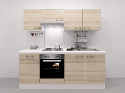 Kuchenzeile 210 cm Akazie mit Einbauherd + Kochplatten - Arezzo