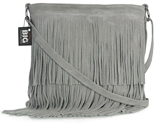 Big Handbag Shop Womens Suede Leather Tassle Fringe Shoulder Bag