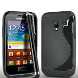 ONX3 Samsung Galaxy Ace Plus S7500 S Line Solid Black Wave Gel Case Skin Cover + Black High Capacitive Stylus Pen