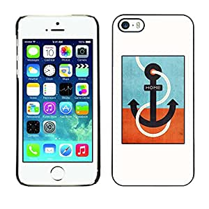 Omega Covers - Snap on Hard Back Case Cover Shell FOR Apple iPhone 5 / 5S - Teal Captain White Minimalist Boat