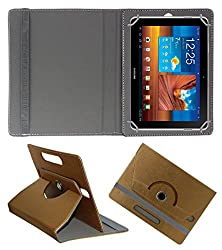 Acm Designer Rotating 360° Leather Flip Case For Samsung Galaxy Tab P7500 Tablet Stand Premium Cover Golden