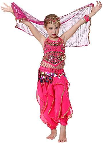 Seawhisper Kid's Newelly Dance Costume Girl Newollywood Dance TriNewal Halloween Costume(New style hot (Pink Dance Costume)