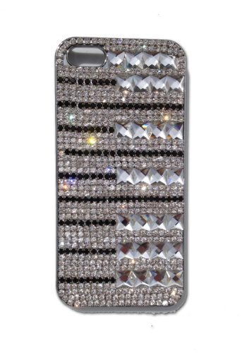 Special Sale Swarovski Crystal & Czech Rhinestone Plating Snap on BLING Back Cover Case for Iphone 5 by Jersey Bling (D)