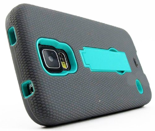 Mylife (Tm) Dark Gray And Sky Blue - Shock Suit Survivor Series (Built In Kickstand + Easy Grip Silicone) 3 Piece + 2 Layer Case For New Galaxy S5 (5G) Smartphone By Samsung (External Flex Silicone Bumper Gel + Internal 2 Piece Rubberized Snap Fitted Armo