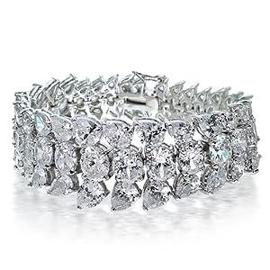 Bling Jewelry Teardrop CZ Tennis Bracelet Leaves Vine 7.5 Inch
