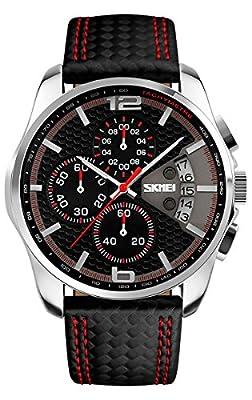 Voeons Men's Watches Chronograph Black Leather Quartz Sports Casual Wrist watch 9106