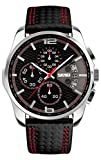 Voeons Men's Watches Chronograph Black Leather