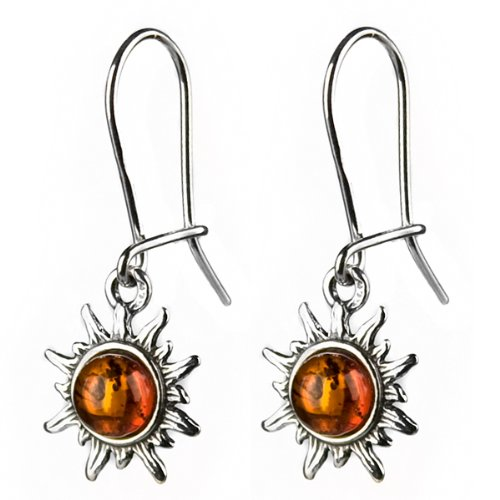 Certified Genuine Baltic Honey Amber and Sterling Silver Very Small Flaming Sun Earrings