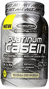 MuscleTech Platinum Pure 100% Casein Supplement, Vanilla Ice Cream, 1.80 Pound