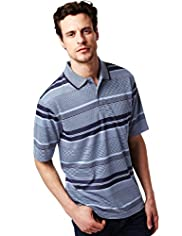 Blue Harbour Soft Touch Modal Blend Jacquard Striped Polo Shirt