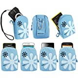 iTALKonline Golla Turquoise BLUE Flower Design Hama Dig Reef-L Bag Pouch Case Cover with Hook for Nikon CoolPix S3300 Compact Digital Camera
