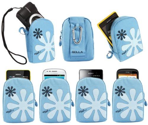 iTALKonline Golla Turchese BLU Fiore Design Hama Dig Reef-L Bag Case Cover Custodia con gancio per Canon PowerShot A2300