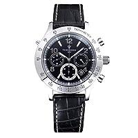 [ソーラーウェーブクロノ 黒文字盤・レザーストラップ]Solar Wave Chrono ・Black ・Leather  Strap 腕時計 ソーラー電波 SWC01LE メンズ