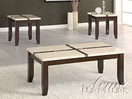 3-pc Pack Faux Marble Top Coffee Table Set ACS106558
