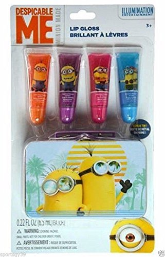 [Despicable Me Minion Gift 5 piece Lip Gloss Cosmetic Set Make-up Tin Party Favor] (Minion Costume Makeup)