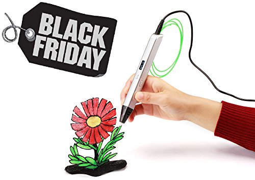 3D Printing Pen BLACK FRIDAY BONUS Professional Three Dimensional Drawing 3DESIGN Pen with OLED Display and Temperature Adjustment for Art Craft (White) + 5 Free Filaments (3d Printing Supplies compare prices)