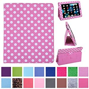HDE Magnetic Folding Leather Folio Case Cover Stand for Apple iPad 1st Generation Tablet (Pink w/ White Polka Dots)