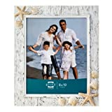 Prinz Sand Piper Resin Frame in Natural White with Seashells and Starfish Accents, 8 by 10-Inch