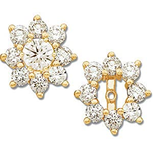 IceCarats Designer Jewelry 14K Yellow Gold 1 1/5 Ctw Diamond Earring Jacket. Pair 1 1/5 Ct Tw