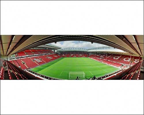 Photographic Print of Anfield Stadium – view from Anfield Road of empty stadium from Liverpool FC Pictures