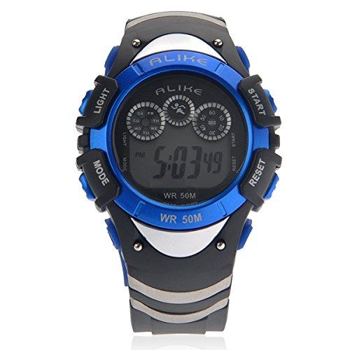 Foxnovo Alike A5114 50M Waterproof Dual Time Unisex Sport Led Digital Quartz Wrist Watch With Date /Alarm /Stopwatch (Blue)