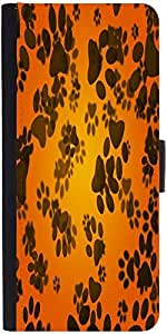 Snoogg Dog Paws Orange Background Designer Protective Phone Flip Case Cover For Lenovo A6000