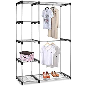 yaheetech steel free standing organizer garment rack double rod closet silver. Black Bedroom Furniture Sets. Home Design Ideas