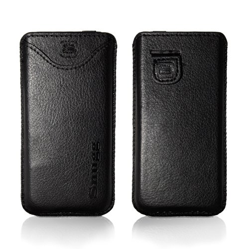 Snugg iPhone 5 High Quality Leather Pocket Case Cover with Card Slot, Elastic Pull Strap and Premium Nubuck Fibre Interior (Black) - Including Lifetime Guarantee.