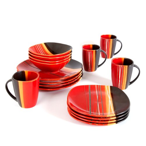 Home Trends 61590 16rm Bazaar Red 16 Piece Square Dinnerware Set Red Black