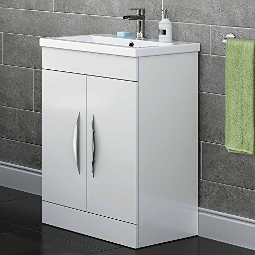600 mm White Gloss Vanity Sink Unit Ceramic Basin Bathroom Storage Furniture MV812