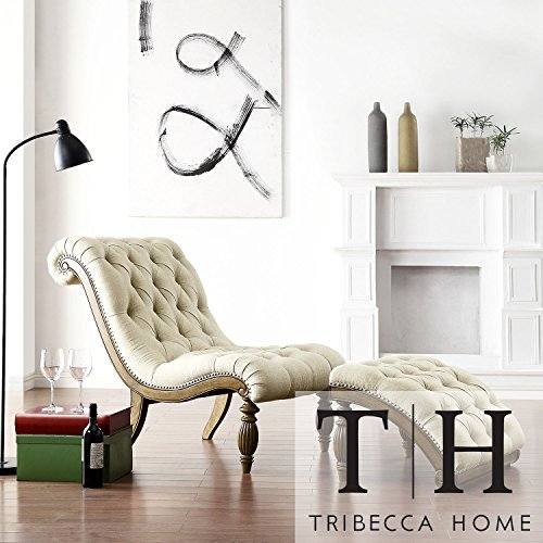 Metro shop tribecca home bellagio beige linen button for Bellagio chaise lounge