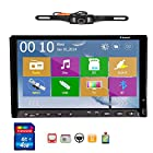 Free Camera Included 2014 New Win 8 UI Design Ouku 7-Inch Double-DIN In Dash Car DVD Player Stereo Radio Audio Touchscreen LCD Monitor with DVD/CD/MP3/MP4/USB/SD/AMFM/RDS/Bluetooth and GPS Navigation Car Logo Chosen Function HD:800*480 LCD Free GPS Antenna+Free Official GPS Map Updatable