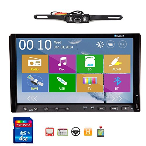 Ouku Free Camera Included 2014 New Win 8 Ui Design Ouku 7-Inch Double-Din In Dash Car Dvd Player Stereo Radio Audio Touchscreen Lcd Monitor With Dvd/Cd/Mp3/Mp4/Usb/Sd/Amfm/Rds/Bluetooth And Gps Navigation Car Logo Chosen Function Hd:800*480 Lcd Free Gps A