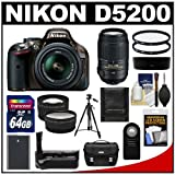 Nikon D5200 Digital SLR Camera & 18-55mm G VR DX AF-S Zoom Lens (Bronze) with 55-300mm VR Lens + 64GB Card + Case + Grip & Battery + Tripod + Tele Wide Lenses + Filters Kit