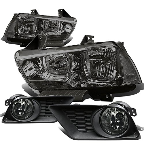 Dodge Charger SRT LX Pair of Smoke Lens Clear Corner Headlight+Fog Light (2014 Dodge Charger Halo Lights compare prices)