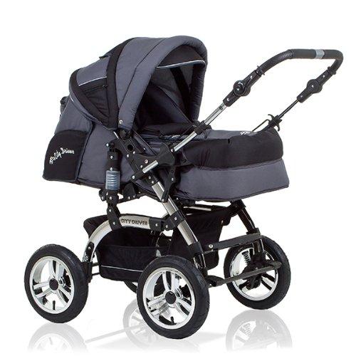 15-teiliges-Qualitts-Kinderwagenset-2-in-1-CITY-DRIVER-Kinderwagen-Buggy-all-inclusive-Paket-in-Farbe-GRAU-SCHWARZ