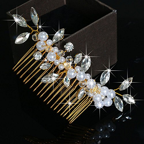 Venusvi Vintage Wedding Hair Combs with Bead and Rhinestones for Women 6