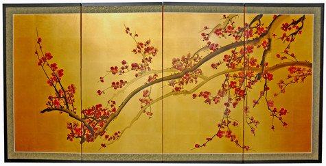 Extra Large Size Simple Asian Wall Art - 6ft. Wide Oriental Cherry Blossom Gold Leaf Screen Painting
