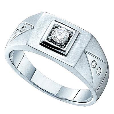 0.25 Carat(ctw) 14K White Gold White Diamond Cluster Men's Wedding Ring With 0.20 CT Round Center 1/4 CT