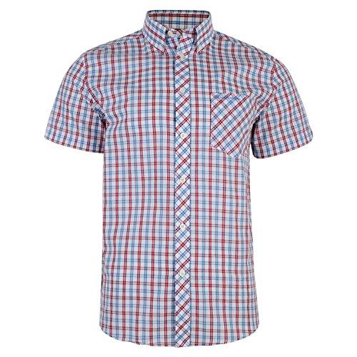 ben-sherman-short-sleeve-check-shirt-button-down-collar-ma11624-cabaret-red-xxx-large