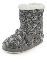 Faux Fur Trim Knitted Boot Slippers