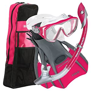U.S.Divers Diva 1 LX/Island Dry LX Snorkel with Trek/Travel Bag, Raspberry, Medium