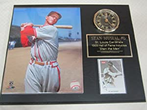 Stan Musial St Louis Cardinals Collectors Clock Plaque w 8x10 Photo and Card by J & C Baseball Clubhouse