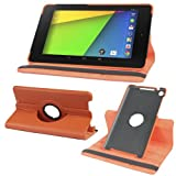 2010kharido 360 Degree Rotating Smart Leather Case Cover For Google Nexus 7 Tablet 2nd GEN 2013 Orange