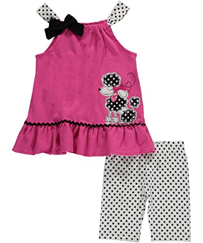 "Little Girls' Toddler ""Spotty Poodle"" 2-Piece Outfit - fuchsia/white, 4t"