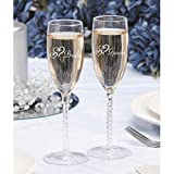"""Victoria Lynn Bride and Groom Double Heart Wedding Toasting Glasses 8"""""""