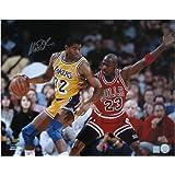 Magic Johnson, Signed Vs. Michael Jordan 23, 16X20 Photo