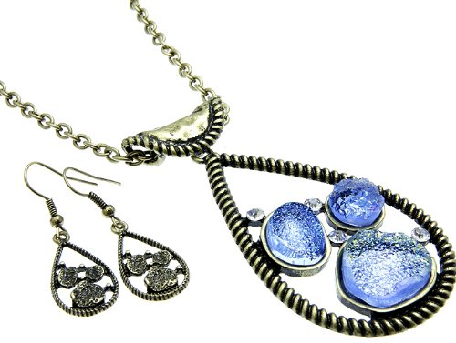 NECKLACE AND EARRING SET METAL METAL CASTING BLUE Fashion Jewelry Costume Jewelry fashion accessory Beautiful Charms