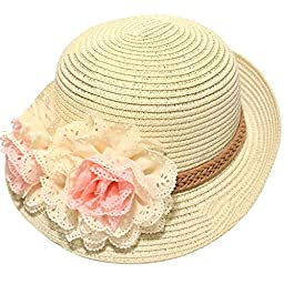 Dealzip Inc® Sweet Kids Little Girls Summer Straw Beach Sun Hat with Flower Accent (Beige)