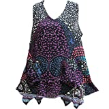 Womens Bohemian Indian Cotton Sleeveless Tunic Cami Tank Top (Purple Leopard)